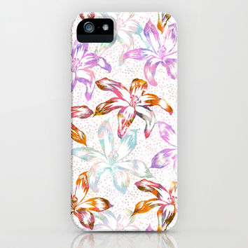 Aztec Sunrise Floral - White iPhone & iPod Case by Schatzi Brown
