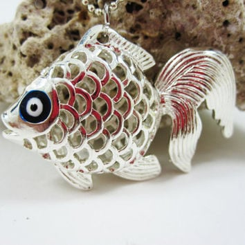 Silver Cute Fish With Blue Evil Eye, For Chance, For Gift, Wedding,