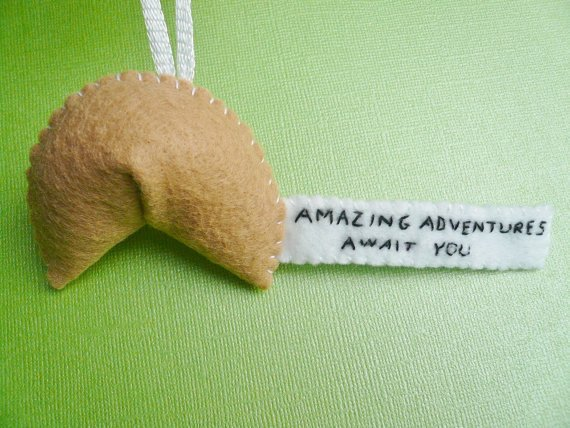 Inspiring Fortune Cookie Ornament - Amazing Adventures Await You
