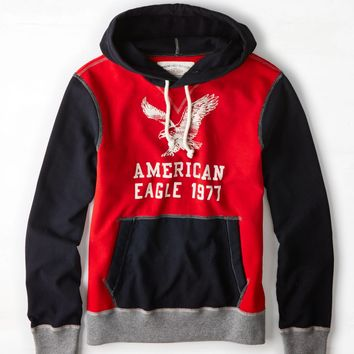 AEO Signature Colorblock Hooded Pop Over, Varsity Red | American Eagle Outfitters