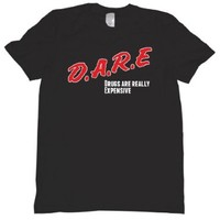 DARE Drugs Are Really Expensive Tee Shirt Mens L black U