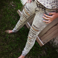 Grey Destroyed Super Skinny Jeans (studs can be added)