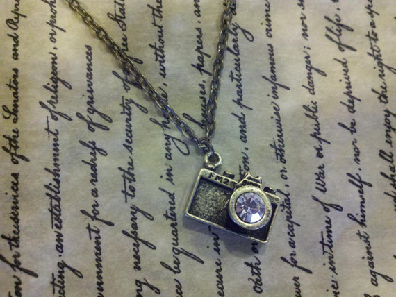 Antique Bronze Camera Charm Necklace With Rhinestone & Chain, Photographer Gift, Photo Prop