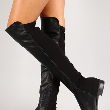 Leatherette Round Toe Thigh High Boot
