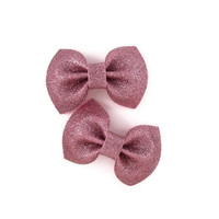 Set of two small pink glitter bows on barrette clips
