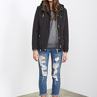 FOREVER 21 Faux Leather Trimmed Utility Coat Black/Black
