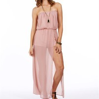 Pre-Order: Rose Pink Strapless High Slit Jumper