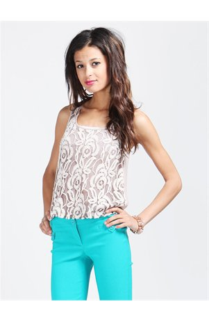 A&#x27;GACI Lace Front Chiffon Back Tank - Tops