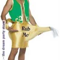 Men's Genie in the Lamp Adult Costume - Gold - One-Size for Halloween