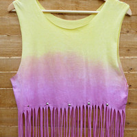 Pastel Coloured Dip Tie Dye Fringe Tassle Top Vest Studded Spike Shoulders Oversize  Pink Yellow