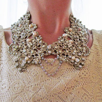 Collar necklace - swarovski embelleshed lace collar, statement necklace, bridal necklace