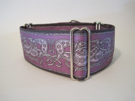 2 inch Purple Celtic Martingale Dog Collar, Celtic Dog Collar, Pink and Black Dog Collar