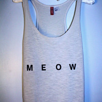 Cream &#x27;meow&#x27; tank top