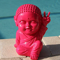 Happy Pink Whimsical Funny Thai Buddha Peace Sign Statue