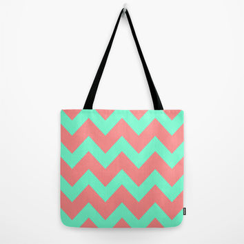 Chevron Coral Red Mint Green Tote Bag by Beautiful Homes