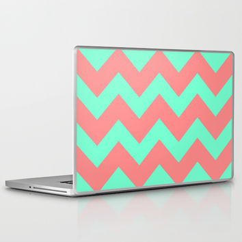 Chevron Coral Red Mint Green Laptop & iPad Skin by Beautiful Homes