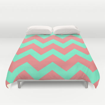 Chevron Coral Red Mint Green Duvet Cover by Beautiful Homes