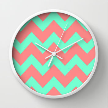 Chevron Coral Red Mint Green Wall Clock by Beautiful Homes