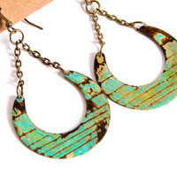 Moon Motif Earring Dangle Turquoise Patina