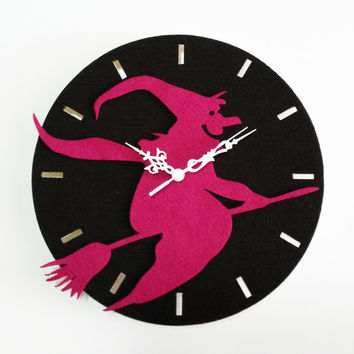 Witch Wall Art - Halloween Wall Clock - Fabric Wall Hanging - Holidays Wall Decor