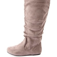 Slouchy Flat Knee-High Boots by Charlotte Russe - Gray