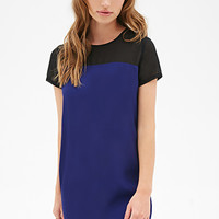 FOREVER 21 Mesh Colorblock Shift Dress Royal/Black