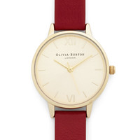 Olivia Burton Luxe Time Floats By Watch in Gold, Cherry - Petite