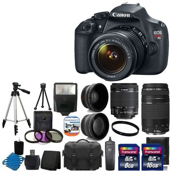 Canon EOS Rebel T5 18MP EF-S Digital SLR Camera USA warranty with canon EF-S 18-55mm f/3.5-5.6 IS [Image Stabilizer] II Zoom Lens & EF 75-300mm f/4-5.6 III Telephoto Zoom Lens + 58mm 2x Professional Lens +High Definition 58mm Wide Angle Lens + Auto Power F