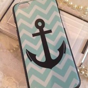 "iPhone 6 4.7"" Case Cover Black Shell Blue Chevron Anchor White Design Bling"