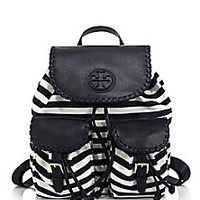 Tory Burch - Marion Striped Nylon Backpack - Saks Fifth Avenue Mobile