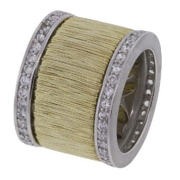 Sterling Silver Wide Band Heavy Gold Plated Wire Statement Ring with Cubic Zirconia Accents