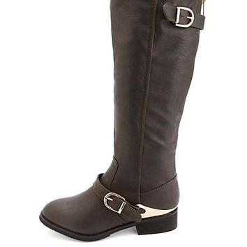 Gold-Plated Back Zipper Belted Riding Boots - Brown