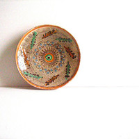 Vintage HOREZU Romanian Ceramic Plate signed Mischiu FOLK ART