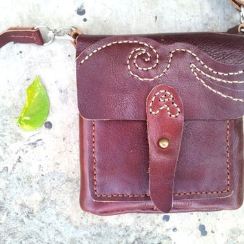 handmade maroon vintage leather bag, small handbag, iphone pouch, gadget case, Cross Body Purse
