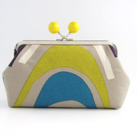 Yellow Bead Frame Purse - lines on gray