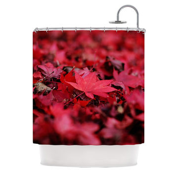 "Angie Turner ""Red Leaves"" Maroon Leaf Shower Curtain"