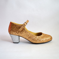 Biba Gold and Silver Glitter Mary Janes heels (Ready to Ship)