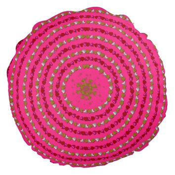Heart Rings Round Throw Pillow