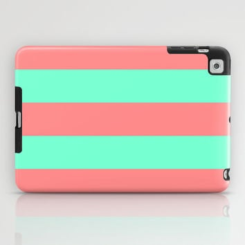 Stripe Coral Red Mint Green iPad Case by Beautiful Homes