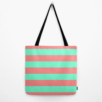 Stripe Coral Red Mint Green Tote Bag by Beautiful Homes