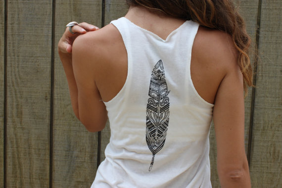 Feather and Wanderlust - Eco-friendly Ivory flowy tank top shirt, wanderlust and feather design