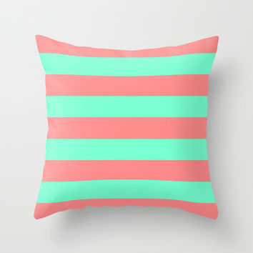 Stripe Coral Red Mint Green Throw Pillow by Beautiful Homes