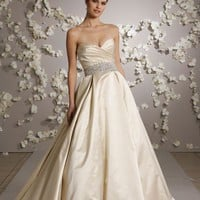 satin bridal ball gown sweetheart bodice chapel train wedding dress YSP3018 | $149.59 | Maryswill.com.