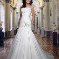 Strapless Gown Sweetheart Neckline Pleated Appliques Embellished Taffeta Dress YSP8363 | $145.39 | Maryswill.com.
