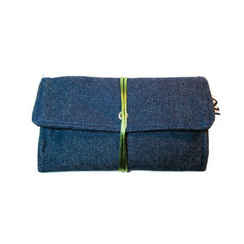 Gift for men, denim tobacco pouch, blue teal smoke bag, bolsa de liar, gift for him, fabric tobacco pouch, personalized gift