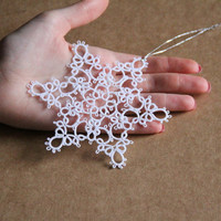 One large lace snowflake, Christmas decoration, white, windows decoration, Christmas tree decoration, gift idea, tatting lace, MADE TO ORDER