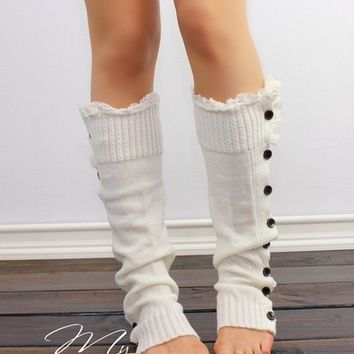Lace Boot socks, Knitted Leg Warmers, Ivory Boot Socks, Knit leg warmers, Button Socks, knee high socks, Winter socks, Lace and grace from My fashion creations