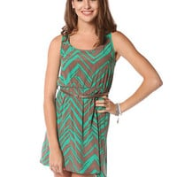 Papaya Clothing Online :: SKINNY BELTED ZIG-ZAG PATTERN DRESS