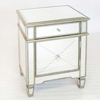 Worlds Away Crosshatch Mirrored Nightstand - Worlds-away-claudette | Candelabra, Inc.