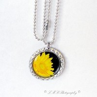 Bottle Cap Pendant Necklace, Photo Necklace, Flower Pendant Necklace, Handmade Yellow Daisy Photo Necklace